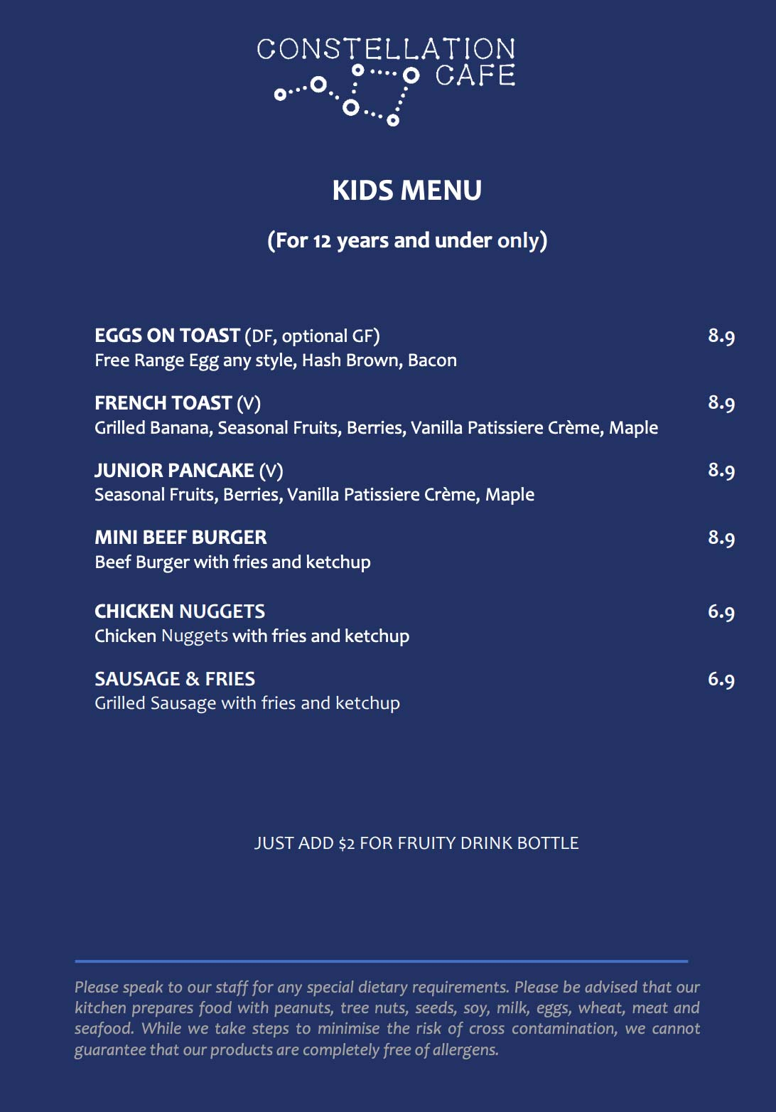 Constellation Cafe Kids menu